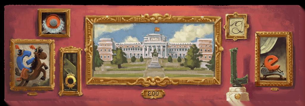 Doodle de Google sobre el 200 aniversario del Museo del Prado. Crédito: Google